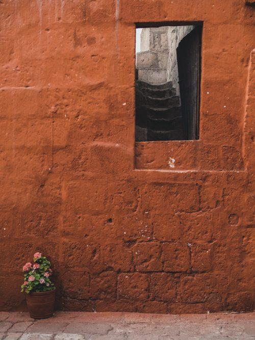 Czerwone ściany i okienko