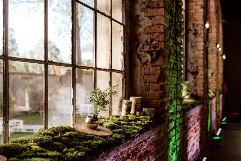 Green accents in an industrial space