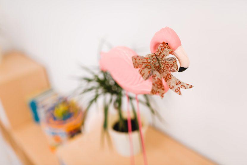 Różowy flaming z kokardą