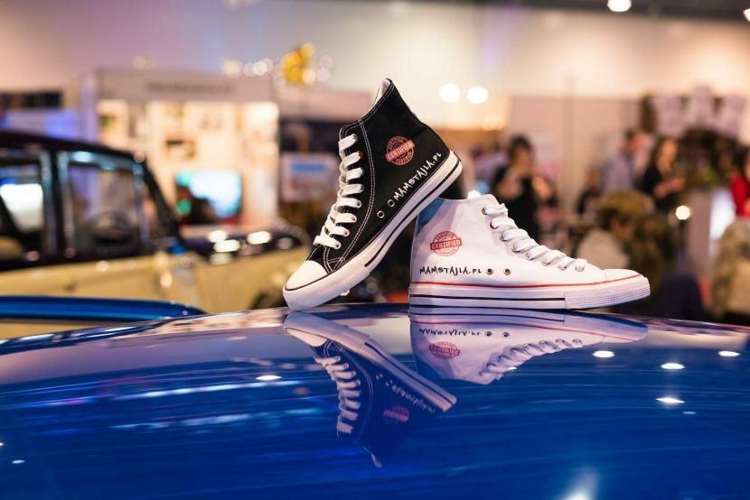 Converses on the roof of the car