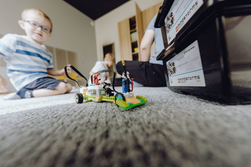 Activities with Lego blocks, a remote-controlled car