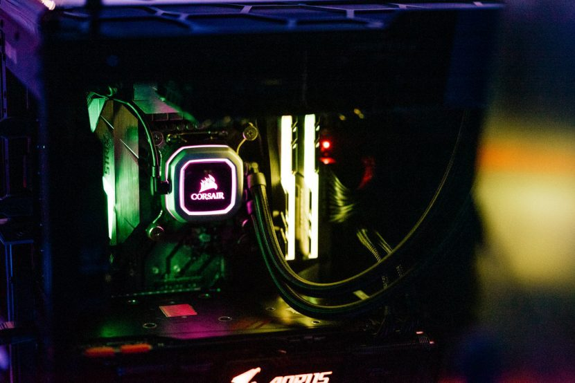 gaming computer with corsair water cooling