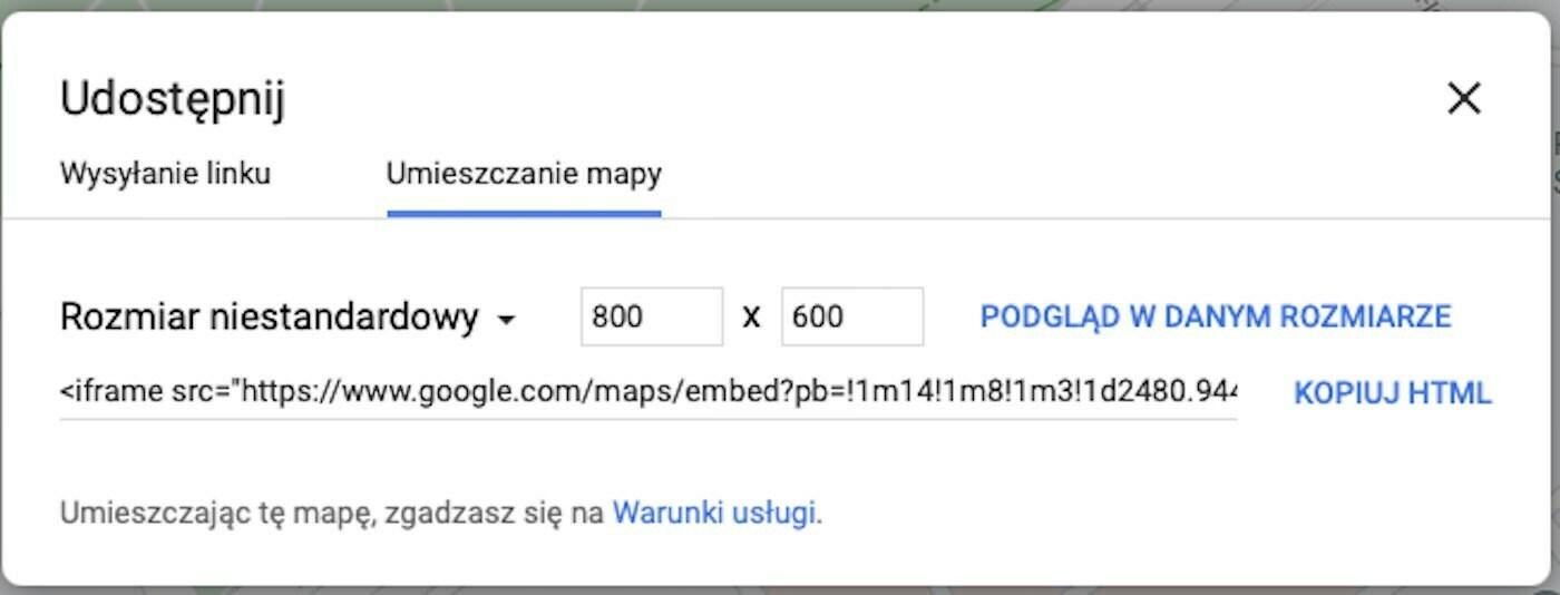 Mapa Google na stronie internetowej