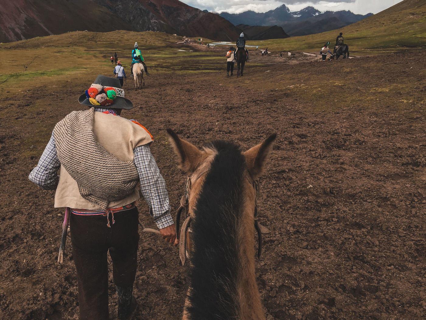 Mężczyzna prowadzi konia