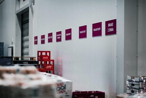 Fioletowe tablice na ścianie