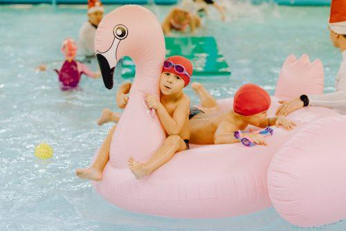 Chłopiec na różowym flamingu