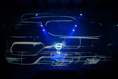 Pokaz laserowy na premierze Volvo
