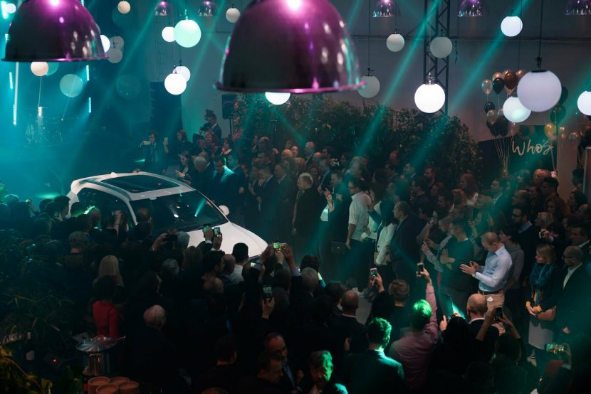 The crowd attends the premiere of the new Volvo XC40