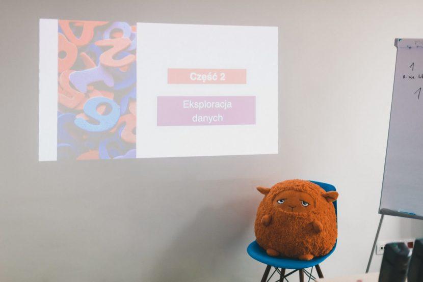 Pomarańczowa maskotka na bielskim krześle i prezentacja z rzutnika na ścianie