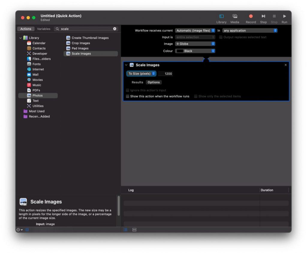 automatyczne skalowanie zdjęć w MacOS za pomocą Automatora