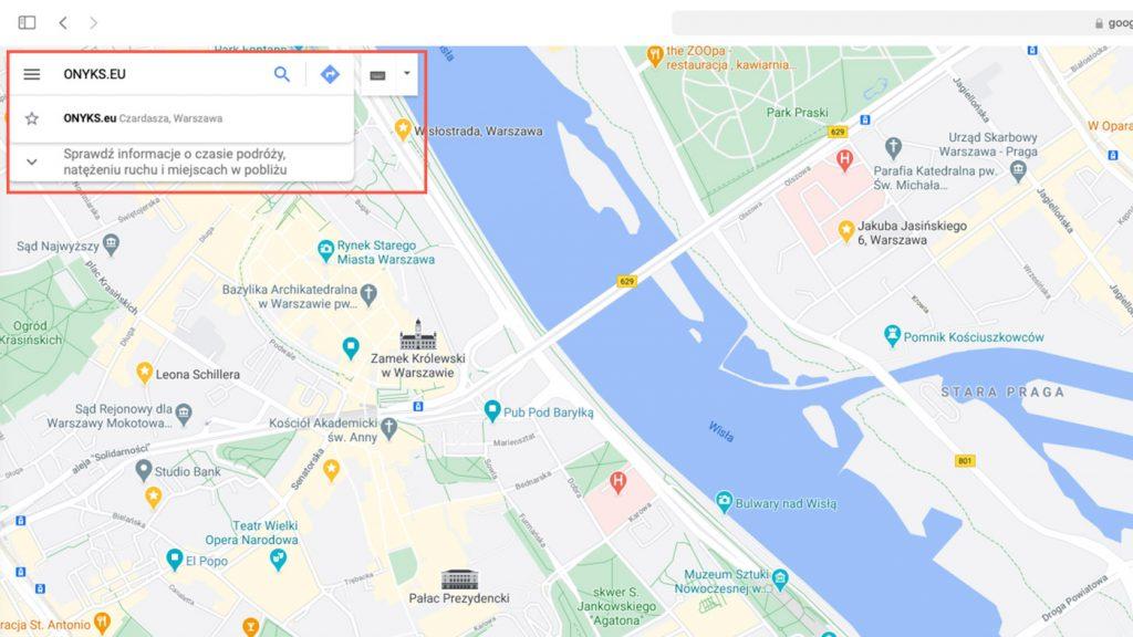 Wyszukiwanie firmy w mapach google