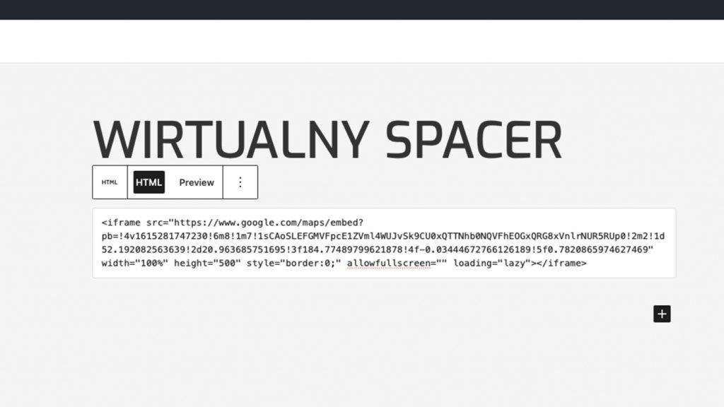 Dodawanie kodu HTML z wirtualnym spacer z Map Google