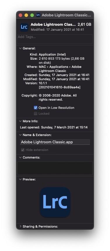 Adobe Lightroom Classic tryb Low Resolution