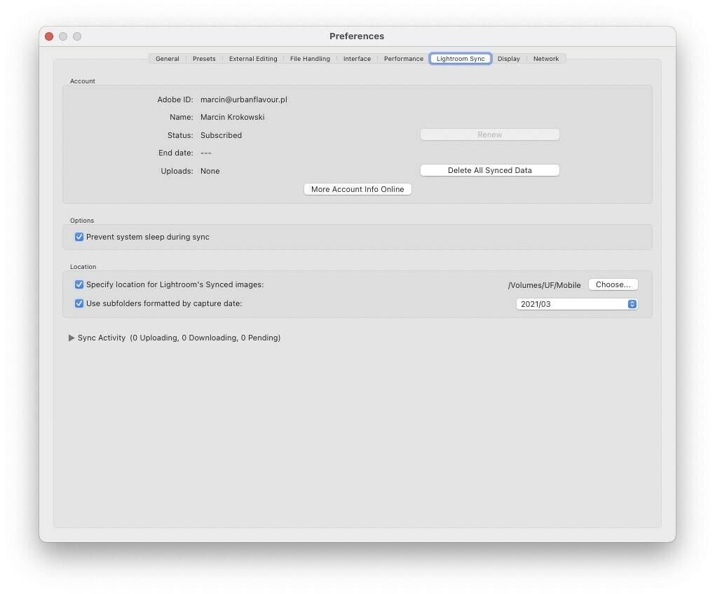 Przyspieszanie Adobe Lightroom Classic - Ustawienia synchronizacji