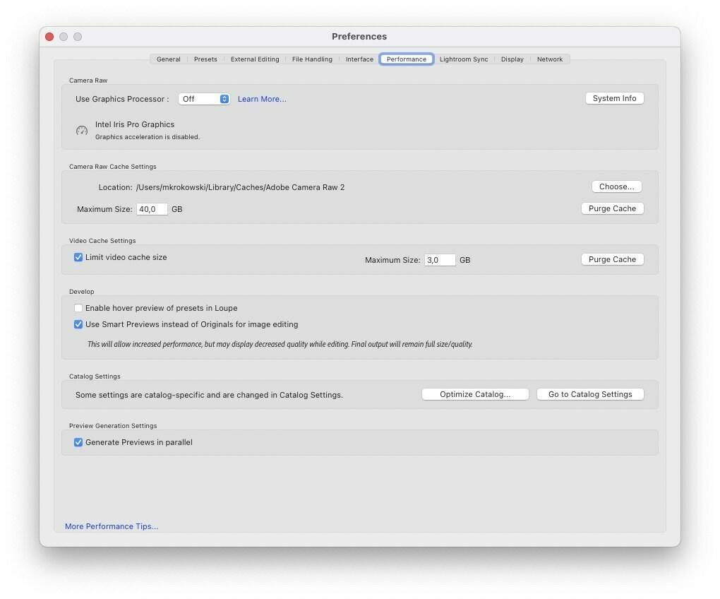 Przyspieszanie Adobe Lightroom Classic - Ustawienia wydajności